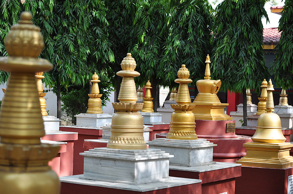 A garden of stupas – in memorium of those who have passed away – each stupa representing the enlightened mind