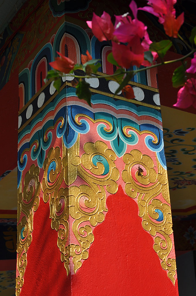 Ornate top of a pillar of our Main Gompa (meditation hall)