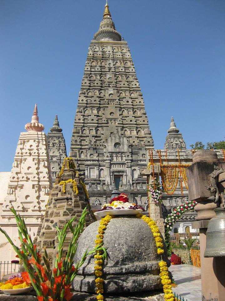 Mahabodhi Stupa – the grounds are filled with many stupas & statues