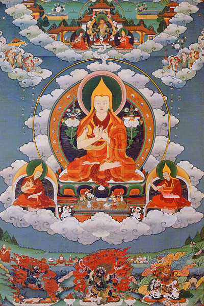 Lama Tsongkhapa with his two chief disciples