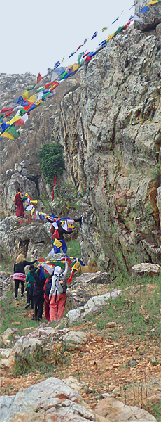Mahakala Cave - Hanging prayer flags
