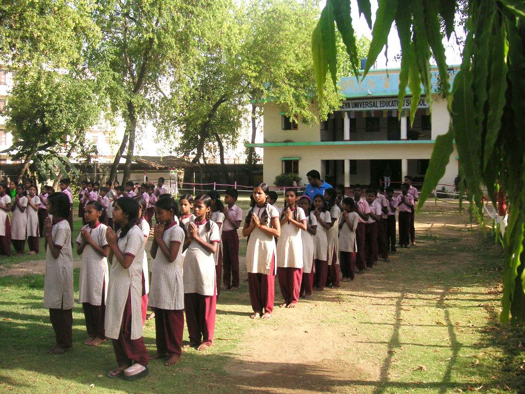 Students getting ready to circumambulate the stupa