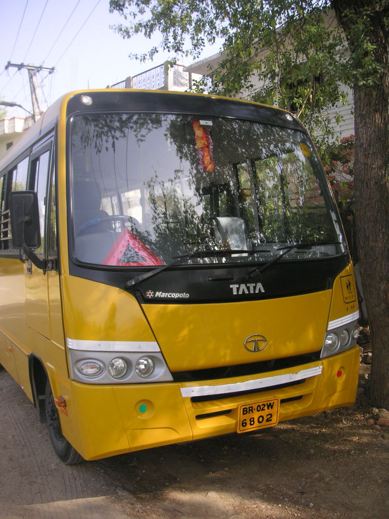 The school bus delivering students from nearby villages