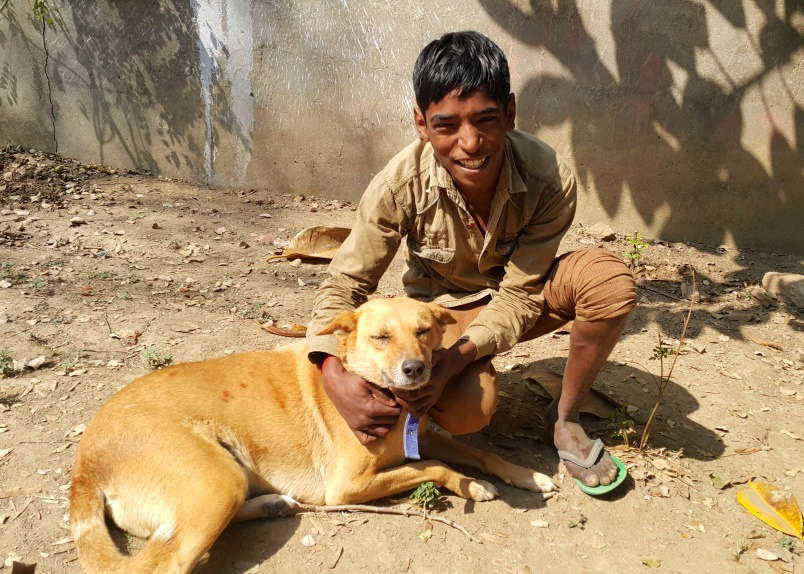 Prateek patting one of our four resident dogs