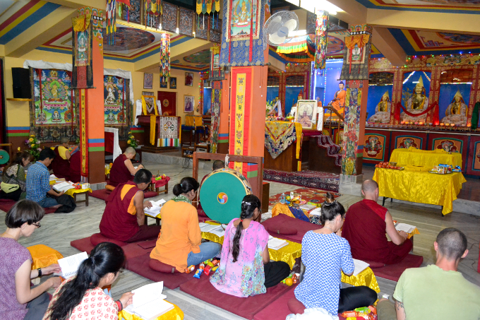 Puja in main gompa