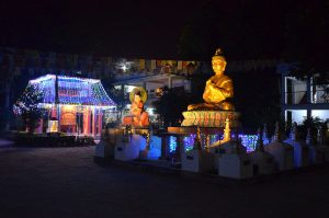 Offerings of light to Root Institute's prayer wheel, Nagarjuna & Maitreya statues