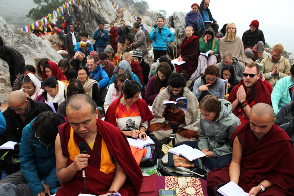 Geshe Damdul leading prayers at Vulture's Peak