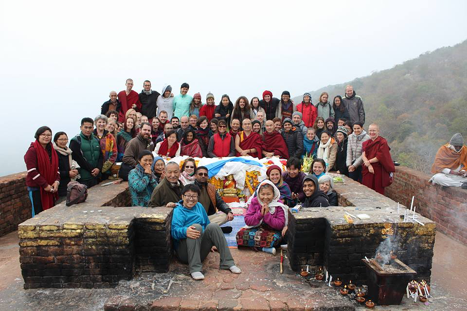 Geshe Damdul & retreat group at Vulture's Peak