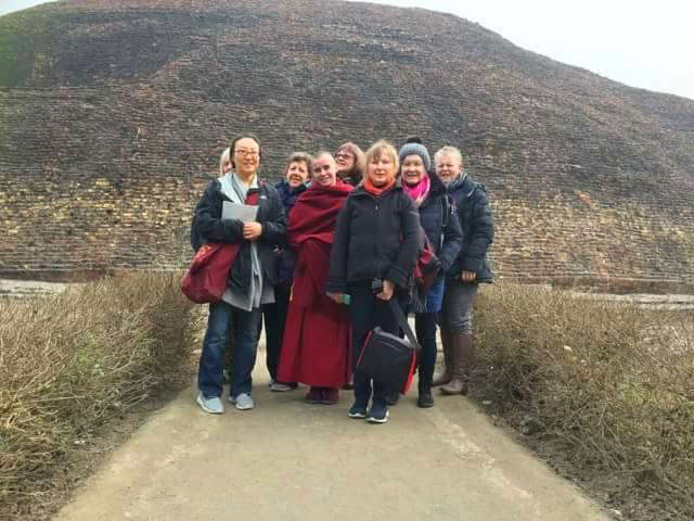 At Kushinigar's Rambhar Stupa, the site of Lord Buddha's funeral pyre, members of Root Institute's 30th anniversary pilgrimage made circumambulations