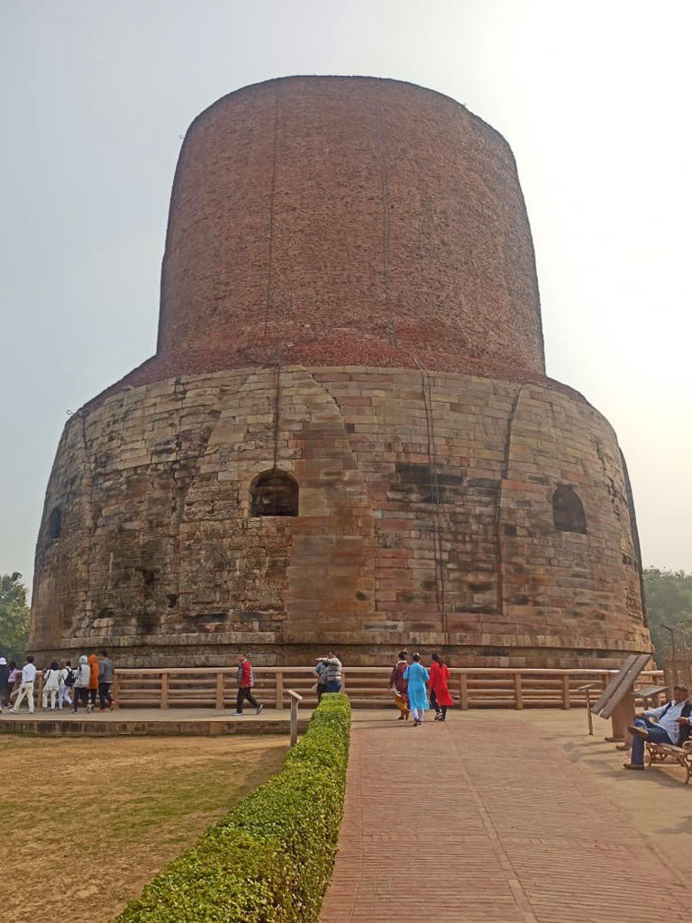 Sarnath – Dhamek Stupa commemorating Buddha's first turning of the Dharma wheel