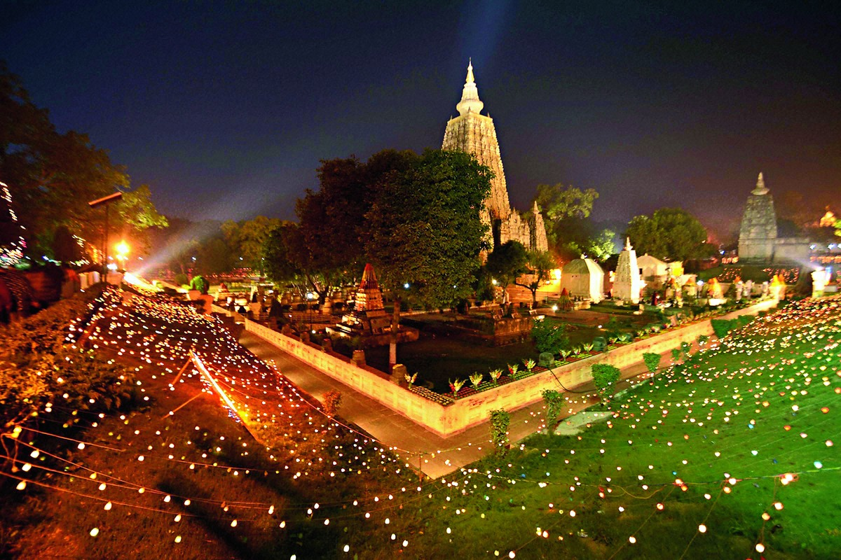 The magnificent Mahabodhi Stupa, bodhi tree and grounds at night